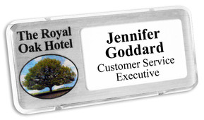 Reusable Name Badges - Clear border and brushed silver background | www.namebadgesinternational.ca